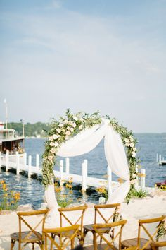 Mediterranean Styled Wedding at Pier 290, Lake Geneva Cruise Line and Gage Marine in Williams Bay Lake Geneva, WI on Geneva Lake. Vendors: Lilypots, Kristina Lorraine Photography, Graceful Events, Parker Drive, Julie Michelle Cakes, Forever Birdy, BBJ Linen, Pure Joy Ink, All About The Gown, Make Up By Jillian, Clearwater Salon, A Personal Touch DJ, Chance Productions, Halls Rental Service Wedding Inspiration Lake Wedding Blush Red Blue Fruit Floral Lush Olive Branch Garden roses eucalyptus Halls Rental, Lake Geneva Wisconsin, Arch Flowers, Bay Lake, Blue Fruits, Wedding Blush, Fresh Flower Delivery, Wedding Inspiration, Wedding Ideas
