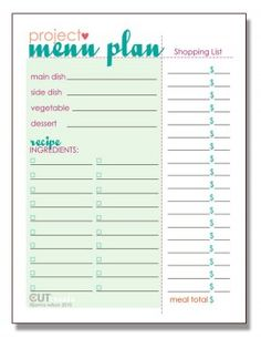 Printable Menu Plan - Tip Junkie