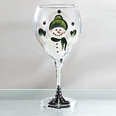 Snowman Wine Glass- Green