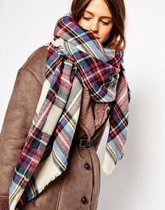 Oversized checked scarf. Love.