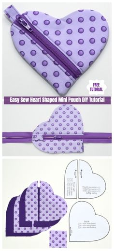 Easy Sew Heart Shaped Mini Pouch DIY Tutorial