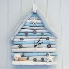 Driftwood Beach Hut Clock by Driftwood Dreaming beach, Driftwood Furniture, Driftwood Projects, Diy Projects, Furniture Projects, Sea Crafts, Home Crafts, Diy And Crafts, Driftwood Beach, Driftwood Art