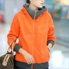 HY2416 New Winter Women's Thicken Zipper Hooded Fleece Jacket - Orange (Size-XL) - From 29,95 for Euro 19,20