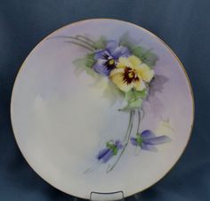 Vintage Hand Painted Pansy Plate Signed Floral by SimplyChina