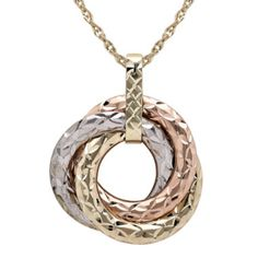 Infinite Gold™ 14K Tri-Tone Gold 3-Circle Pendant Necklace  found at @JCPenney