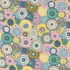 Sale HALF YARD -  Flower Medallions in Light Pink, Teal Blue, and Yellow - LAWN - Cosmo Textile Japanese Import Fabric by fabricsupply on Etsy
