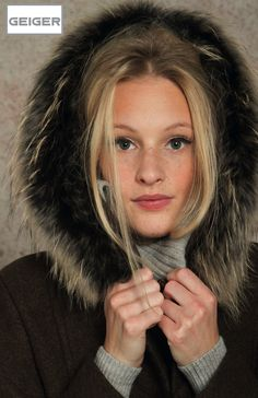 GEIGER Raccoon fur trimmed hooded eco-boiled wool jacket style 51220.