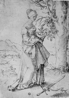 Katharina in der Landschaft Hans Baldung Grien, Saint Katherine, German Outfit, Landsknecht, Student Gifts, Gravure, 16th Century, Alexandria, Printmaking