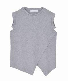 그레이 레이어드 민소매 티셔츠