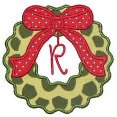 By Category :: Holidays & Special Occasions :: Christmas :: Wreath Applique Alphabet - Embroidery Boutique