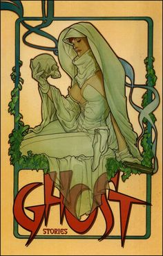 Ghost Stories Cover by Adam Hughes 1995 [Source: http://simondrax.com/2010/07/18/adam-hughes-ghost/]... Always loved the Mucha effect and the green ghostly colour here