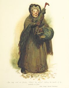 """Sairey Gamp from Martin Chuzzlewit.Nurse character from Charles Dickens' 1849 novel """"Martin Chuzzlewit"""" who came to work inebriated. Provides negative portrayal of nurses and nursing care during the Industrial revolution."""