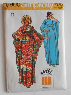 Vintage 70s Long Maxi Caftan Dress, High Neck Evening Gown Sewing Pattern Simplicity 5900 One Size 10 12 14 16 Bust 32 1/2 34 36 38 UNCUT