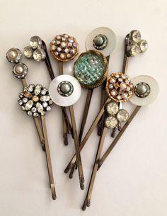 Crystal Hair pins Silver bobby pins Bridesmaids hair by KimBuilt