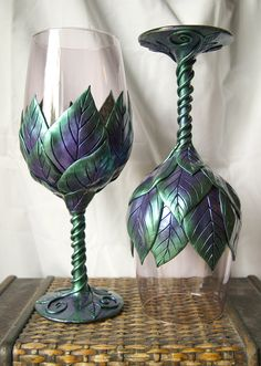 Light Dusky Violet Wine Glasses with Green and by MaevinWren these totally look like the elves in LOTR should be drinking out of them!