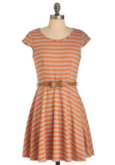 striped orange and tan heather dress with short cap sleeves and light brown waist belt with bow accent
