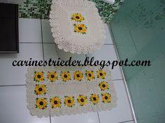 Carine Strieder e seus Crochês: Jogo de Banheiro de Crochê com Flor Girassol