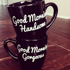 Set of mugs-Good Morning Handsome/Good Morning Gorgeous- Mugs with mustache/lips (black) on Etsy, $30.00