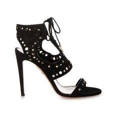 Aquazzura Rebel studded suede sandals ($820) ❤ liked on Polyvore featuring shoes, sandals, black, studded shoes, black suede sandals, cutout shoes, cutout sandals and print shoes