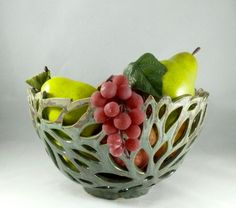 Ceramic Cut Out Art Vessel Fruit Bowl Ceramic by BlueSkyPotteryCO