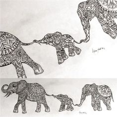 Alter so it's mumma elephant and three babies ❤️ Original Indian elephant Zentangle tattoo design By Alpinejoker. Elephant Family Tattoo, Henna Elephant, Mandala Elephant, Elephant Tattoo Design, Tattoo Elephant, Indian Elephant Tattoos, Indian Elephant Art, Zentangle Elephant, African Elephant