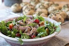 salat med pulled pork