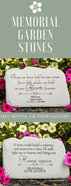 We just love these gorgeous memorial garden stones. Each stone offers the opportunity to add your own personalization to the stone. These are such a sweet way to express your sympathy. They ship for free.