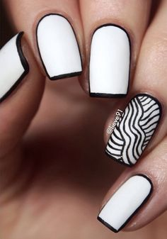black and white nail art-41 - 55 Black and White Nail Art Designs <3