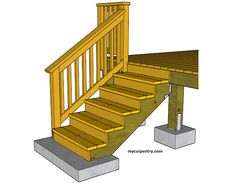 Install Stair Railing - How to build stair railing for your deck or other carpentry projects. Stair Railing Parts, Exterior Stair Railing, Outdoor Stair Railing, Patio Stairs, Stair Handrail, Hand Railing, Front Stairs, Deck Railings, Stair Rise And Run