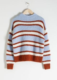 Striped Mock Neck Wool Blend Sweater - Multi Stripe - Patterned sweaters - & Other Stories White Linen Shirt, Wide Trousers, Le Jolie, Cool Sweaters, Ribbed Sweater, Fashion Story, S Models, Knitwear, Mock Neck