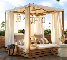 I want this for my back yard, overlooking the water next to the pool! Madera Teak Daybed & Cushion | Pottery Barn