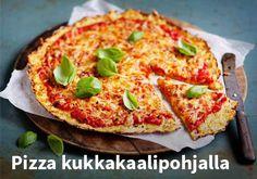 Pizza kukkakaalipohjalla Resepti: Valio #kauppahalli24 #ruoka #resepti #pizza