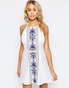ASOS Panel Embroidered High Neck Cross Back Beach Dress 26.00 Euros