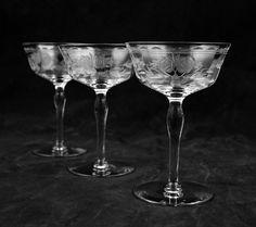 Vintage Etched Crystal Liquor Cocktail Glasses McBride Etched Rose and Leaf Design Wedding Anniversary Elegant Stemware Glassware by PlumsandHoney on Etsy