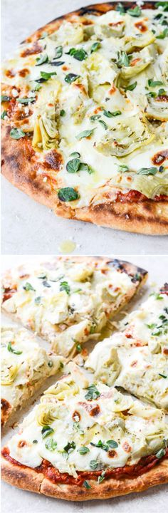 30 MINUTE skillet flatbread - no rise pizza dough topped with artichokes and three cheeses! I howsweeteats.com