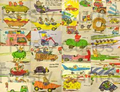 Downloadable Art of Richard Scarry Funny Cars  by RustyCurios, $3.00. Where else can you find a doughnut, shark, or Swiss cheese car? Or a hot dog, alligator, pencil, hammer, banana, pickle, carrot, egg, toothpaste, corn on the cob, wolf wagon, shark, rodeo, or lettuce car! Also included: swimming pool truck, Hog Heaven trailer, chopper bike, shoe truck, dragster, air mail truck, steam roller, teeny-tiny limousine, and too-small-camper
