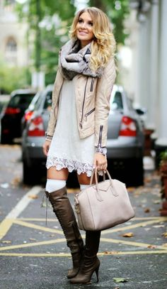 white lace dress, simple jacket, scarf, over the knee boot