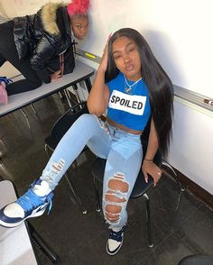 baddie outfits for school Swag Outfits For Girls, Teenage Outfits, Cute Swag Outfits, Girls Summer Outfits, Cute Comfy Outfits, Chill Outfits, Teen Fashion Outfits, Dope Outfits, Girly Outfits