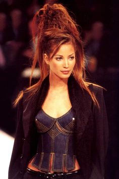Christy Turlington for Jean Paul Gaultier, 1993 Fashion Line, 90s Fashion, Runway Fashion, High Fashion, Vintage Fashion, Fashion Details, Fashion Photo, Fashion Models, Vintage Style
