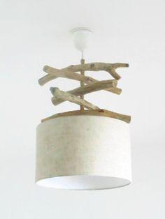 Lustre bois flotté Lin - abat jour cylindre 30cm - suspension cylindrique - plafonnier rond - slow deco