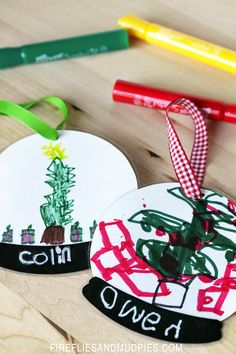 As kids grow, so do their hands! Instead of handprint ornaments, create keepsake ornaments with their artwork and handwriting!