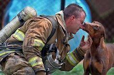 14 photos poignantes de pompiers accompagnés de l'animal qu'ils viennent de sauver