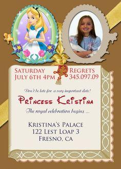 Alice in Wonderland Invitations birthday invitations Printable Invitations diy Invitations Children custom Invitations