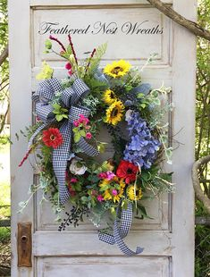 Spring Door Wreath Spring Door Decor Colorful Wreath