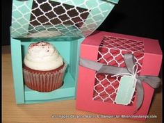▶ Cupcake box with window frenchiestamps.com - YouTube