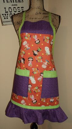 Women's Full Ruffled Apron - Halloween - Trick or Treat by FromNinasCloset on Etsy