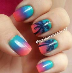 Tropical Nails Cruise Vacation Sunset Cute Nail Polish Jet