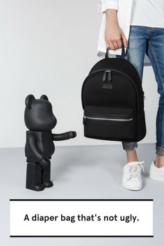 This diaper bag does not look like the other bulky, wieldy changing bags. This baby bag combines fashion and practicality. This would be perfect for all your parenting needs. Black Backpack, Backpack Bags, Mini Backpack, Vegan Fashion, Women's Fashion, Fashion Lookbook, Fashion Women, Winter Fashion, Changing Bag