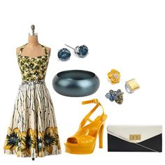 """Golden Flowers"" by bethherrmann on Polyvore"