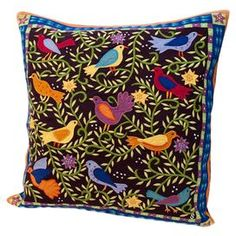 """Hand-dyed cotton throw pillow with a multicolor bird motif. Features hand-cut applique and embroidery. Product: PillowConstruction Material: 100% Cotton cover and polyester fillColor: Black and multiFeatures: Hand-dyed, hand-cut applique and embroidery  Envelope style closure with covered buttonsInsert includedDimensions: 18"""" x 18""""Cleaning and Care: Dry clean only"""